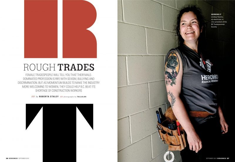 Cover story:  BC Businesson women working in the trades.