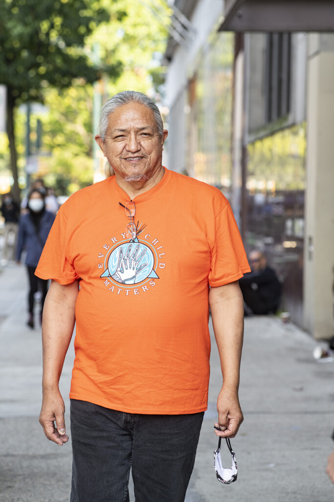 Portrait of Kelvin Bee on Orange Shirt Day, Vancouver, 2020